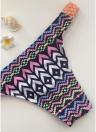 Frauen Bikini Set Vintage Print geflochtene Dreieck Krawatte vorne T zurück Tanga