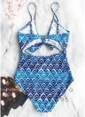 Wave Ripple Print Tie Cut Out Padded Push Up One-Piece Swimsuit