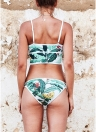 Women Bikini Set Folhas Imprimir Patches Zipper Top Bottom Beach Swimwear Swimsuit