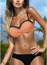 Frauen Bikini Set Spitze geraffte Candy Farbe Bandage Badeanzug Badeanzüge