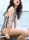 Streifen Backless Monokini Damen Badeanzug