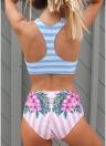 Bikini donna a righe con motivo floreale a righe