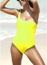Mulheres Solid Swimsuit Single Shoulder Knot