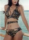 Bikini con motivo floreale da donna Criss Cross tagliato