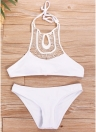 Women Hollow Halter Bikini Set Padding Backless Sem fio Cintura baixa