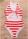 Monokini monoblocco per donna senza fili con lacci a righe