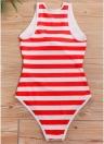Gestreifte Krawatte vorne Wireless Frauen Einteiler Monokini