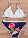 Mulheres Triângulo Conjunto de biquíni Floral Print Swimwear Swimsuit maiô acolchoado