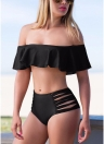 Mulheres Bikini Set Off Shoulder Ruffles Hollow Out Side Cross StrapsSexy