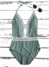 Frauen Halter Badeanzug One Piece Bademode Crochet Lace Backless Padded Beach Wear