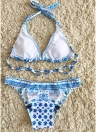 Women Floral Bikini Set Self-tie Backless Low-rise Waist Swimwear Two Pieces