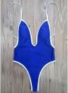 Mulheres Traje de banho de uma peça Sólido High Cut Thong Traje de banho Monokini Swimwear