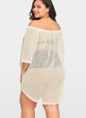 Women Sheer Cover Up Dress  3/4 Sleeve Bikini Cover-up Overall