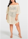 Vestido de mujer Sheer Cover Up 3/4 Sleeve Bikini Cover-up Overall
