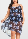 Women Sheer Chiffon Floral Bikini Cover Up Transparent  Asymmetric Beachwear Mini Dress