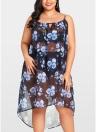 Bikini floreale in chiffon velato trasparente per donna. Vestido mini abito da spiaggia trasparente asimmetrico