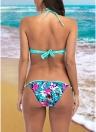 Mulheres Floral Print Conjunto de biquíni de fraldas Traje de banho de praia Traje de banho de duas peças