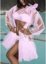 Tanga laterale con rivestimento in mesh e bikini da donna
