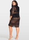 Frauen Plus Größe Durchsichtige Abdeckungen Floral Lace mit Kapuze Halbarm Long Casual Tops Beachwear