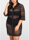 Women Plus Size See-through Cover Ups Floral Lace Hooded Half Sleeves Long Casual Tops Beachwear