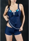 Women Two Piece Swimsuit Tankini Set Contrast Color Vest Bottom Bathing Suit