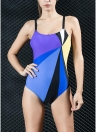 Mulheres Traje de banho de uma peça Contrast Color Block Sporty Monokini Swimwear Fato de banho
