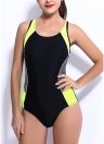 Costume intero da bagno da donna in cotone a contrasto con blocco sportivo color block monokini