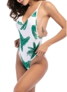 Frauen Backless Badeanzug Print Plunge Seite High Cut Bademode Beach Playsuit