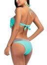 Women Bikini Set Fringing Front  Tied Backless Padded Two Pieces Swimsuit Swimwear