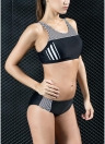 Women Sporty Bikini Set Striped Cropped Tank Top  Two Pieces Swimsuit Swimwear