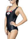 Mulheres Sporty One-Piece Swimsuit Cut Out Racer Back Padded Swimwear Playsuit