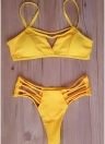 Frauen Bikini Set Riemchen Bandage Push-Up Wireless Badeanzug Beach Wear