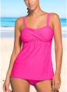 Frauen Push Up Tankini Set Polsterung Wireless Low Waist Beach Badebekleidung