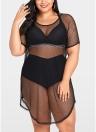 Женщины плюс размер Обложка Net See через бикини Beach Dress Wear