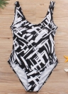 Women Large Size One-piece Swimsuit Contrast Color Stripes  Swimwear Bathing Suit