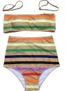 Conjunto de Biquíni de Stripe Feminino Push Up Vestido de Banho Completo de Banho Swimwear