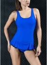 Women One Piece Swimsuit Sports Swimwear Mini Skirt Frill Hem Monokini