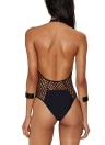 Fishnet Halter Neck Open Back Solid Padded Swimwear