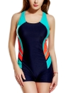 Panel Splicing Racing Sports One Piece Swimsuit