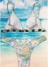 Femmes Strappy Maillots de bain Imprimé Floral Rembourrage sans fil Bikini Ensemble maillots de bain maillot de bain
