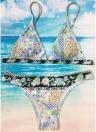 Mulheres Strappy Swimwear Floral Print Padding Conjunto de biquíni sem fio Trajes de banho Swimsuits