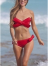 Push Up Bandeau Tie Back Bow Bikini Set