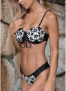 Floral Embroidered Faux Pearl Beading Bandage Lace Up Hollow Out Bikini
