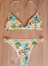 Floral Print Beading Trim Triangle Padded Bikini Set