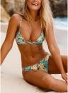 Ensemble de bikini rembourré à garniture de perles à imprimé floral