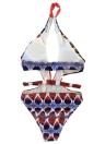 Women One Piece Printed Swimsuit Swimwear Plunge Bathing Suit Backless Beachwear Monokini