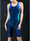 Women Sports One Piece Swimsuit Full Brief Knee Professional Swimwear  Bathing Suit