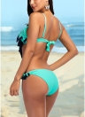 Mulheres Biquíni Dois pedaços Set Ruffle Overlay Self Tie Comprimido Push Up Swimsuit