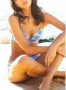 Femmes Bikini Set motif géométrique impression Bandage Cross Over rembourré maillot de bain creux