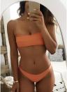 Completo di Bikini con imbottitura stampata leopardata a fascia tinta unita senza spalline